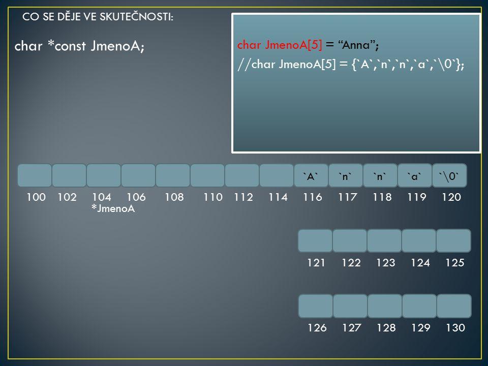 char *const JmenoA; char JmenoA[5] = Anna ;